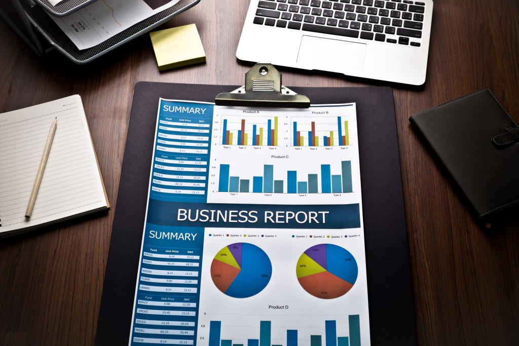business report on desk
