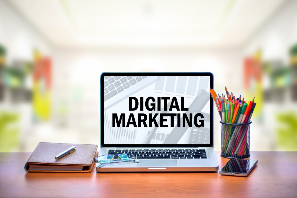 Digital marketing text on a laptop screen