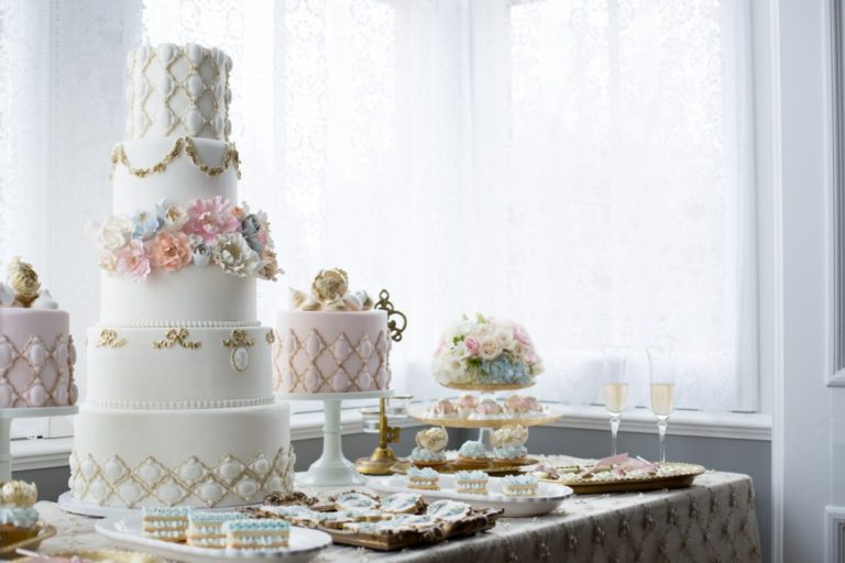 wedding cake and dessert buffet set-up