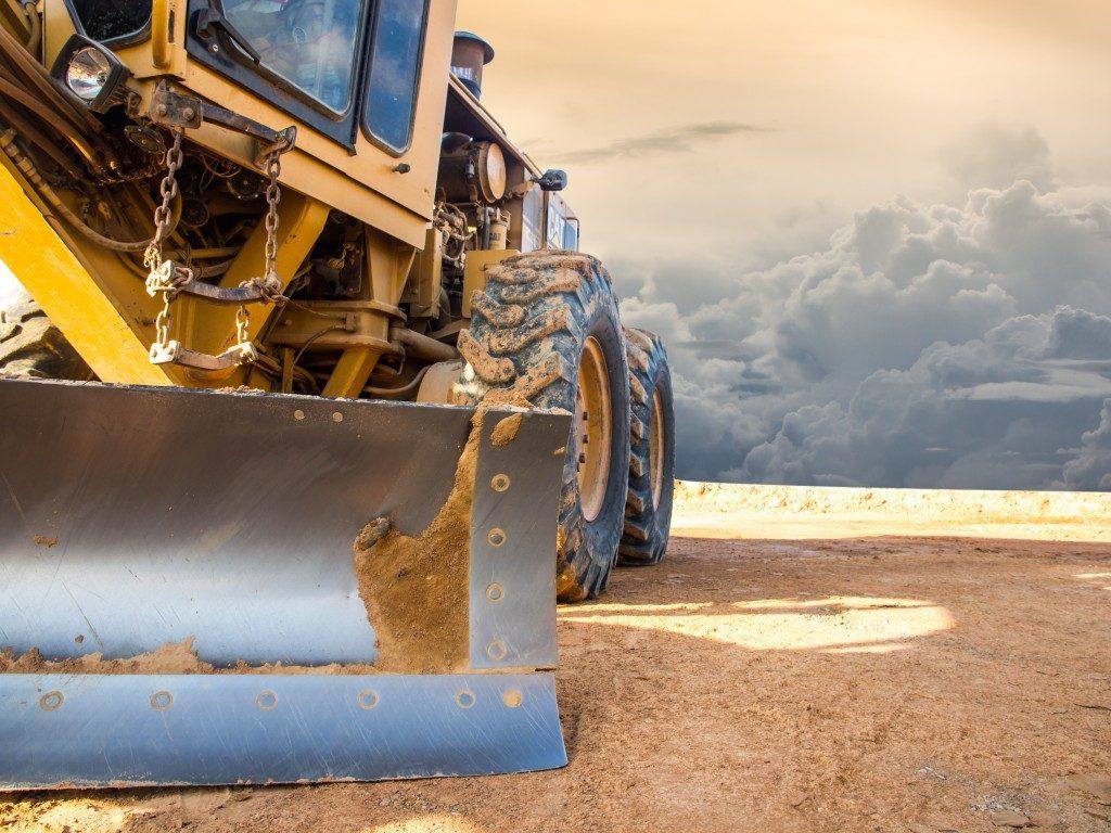 excavator on the field