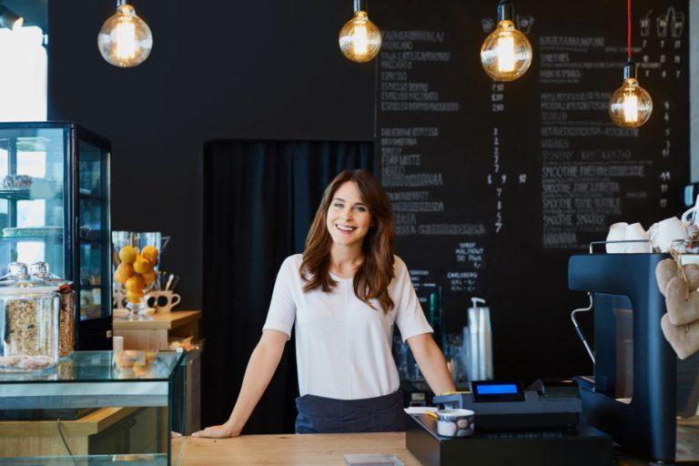 businesswoman inside her own restaurant