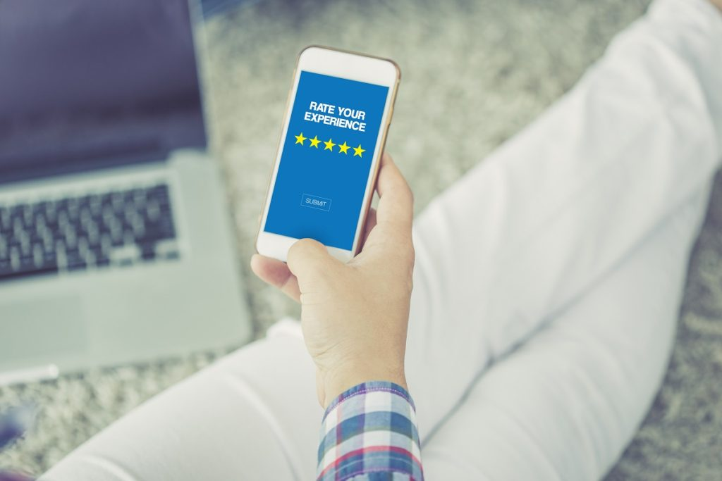 customer submitting a rating on a mobile phone