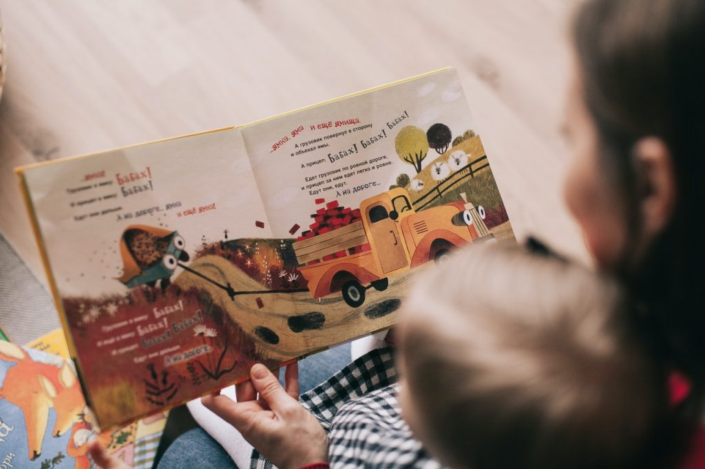 reading book to toddler